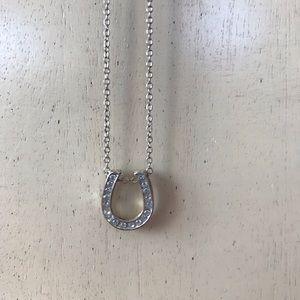 Short silver chain lucky horseshoe necklace